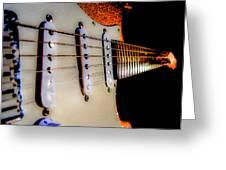 Stratocaster Pop Art Tangerine Sparkle Fire Neck Series Greeting Card