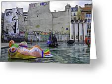 Stravinsky Fountain Near Centre Pompidou In Paris, France Greeting Card