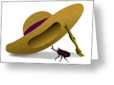 Straw Hat And Horn Beetle Greeting Card