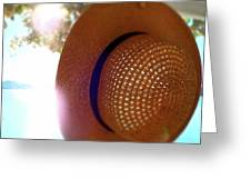 Straw Hat Hanging In Sunny Cottage Greeting Card