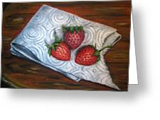 Strawberries-3 Contemporary Oil Painting Greeting Card