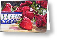 Strawberries And Roses Greeting Card
