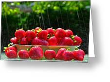 Strawberries And Summer Showers Greeting Card