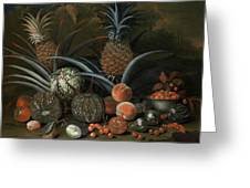 Strawberries In A Porcelain Bowl With Pineapples Melons Peaches And Figs Before A Tropical Landscape Greeting Card