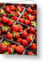 Strawberries With Green Weed In Plastic Containers  Greeting Card