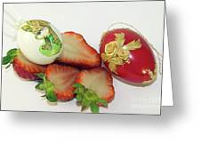 Strawberry And Easter Eggs Greeting Card