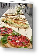 Strawberry Cake And Other Snacks On A Wood Table Outdoors On Sta Greeting Card