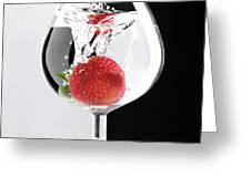 Strawberry In A Glass Greeting Card by Oleksiy Maksymenko