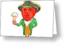 Strawberry Tricorn Hat Ice Cream Victorian Gentleman Watercolor Greeting Card