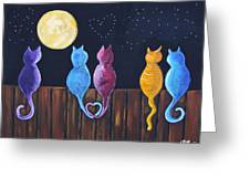 Stray Cats In Moonlight Greeting Card