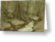 Trees By Stream Greeting Card
