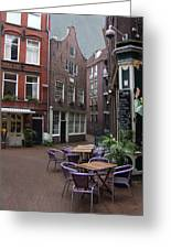 Street Cafe Mooy In Amsterdam Greeting Card