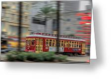 Street Car Flying Down Canal Greeting Card