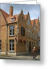 Street Corner In Bruges Belgium Greeting Card