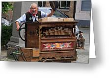 Street Entertainer In Bruges Belgium Greeting Card