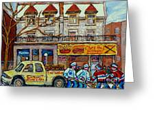 Street Hockey Pointe St Charles Winter  Hockey Scene Paul's Restaurant Quebec Art Carole Spandau     Greeting Card