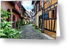 Street In Eguisheim, Alsace, France Greeting Card