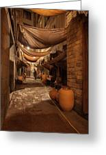 Street In Gothic District Of Barcelona At Night Greeting Card