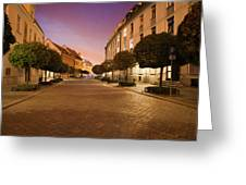 Street In Ostrow Tumski By Night In Wroclaw Greeting Card