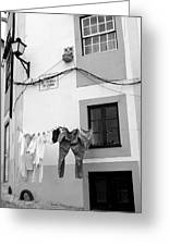 street in Porto with hanging clothes Greeting Card