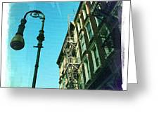 Street Lamp And Fire Escape Greeting Card