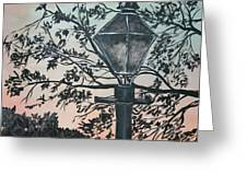 Street Lamp Historic Vintage Art Print Greeting Card