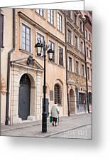 Street Lantern And Old Woman Greeting Card