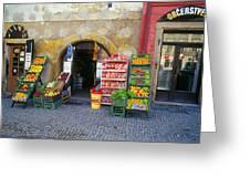 Street Market, Prague Greeting Card
