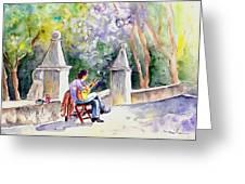 Street Musician In Pollenca Greeting Card