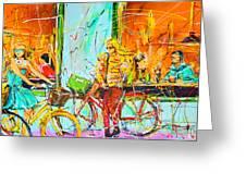 Street Of Amsterdam - Four Girls Greeting Card