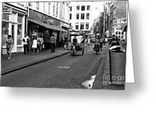 Street Riding In Amsterdam Mono Greeting Card