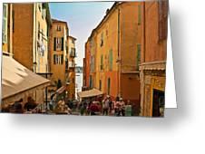 Street Scene In Villefranche Greeting Card