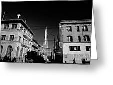 Street Scene With Transamerica Pyramid From Chinatown  Greeting Card