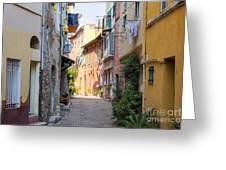 Street With Sunshine In Villefranche-sur-mer Greeting Card