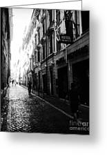 Streets Of Rome 2 Black And White Greeting Card