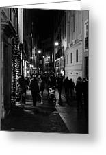 Streets Of Rome At Night  Greeting Card