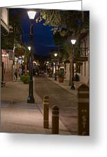 Streets Of St. Augustine At Night Greeting Card