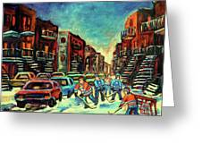 Streetscenes Of Montreal Hockey Paintings By Montreal Cityscene Specialist Carole Spandau Greeting Card