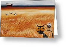 Stressie Cat And Crows In The Hay Fields Greeting Card