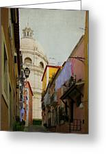 Street Scene In Alfama District Of Lisbon Greeting Card