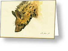 Striped Hyena Animal Art Greeting Card