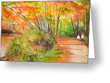 Strolling Along The Canal Greeting Card