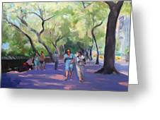 Strolling In Central Park Greeting Card