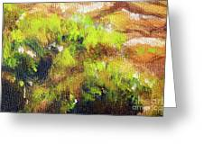 Structure Of Wooden Log Covered With Moss, Closeup Painting Detail. Greeting Card