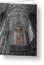 Structures Of St. Patrick Cathedral Bw Greeting Card