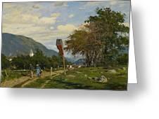 Strutzel, Otto 1855 Dessau - 1930   On The Way Home. In The Background The Steeple Of Garmisch-parte Greeting Card
