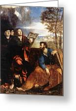 Sts John And Bartholomew With Donors 1527 Greeting Card