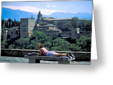Student At The Alhambra Greeting Card