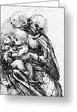 Study For A Madonna With A Cat Greeting Card