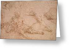 Study For The Figure Of Diogenes In The School Of Athens Greeting Card